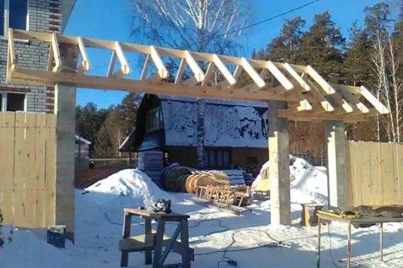Деревянный навес над воротами