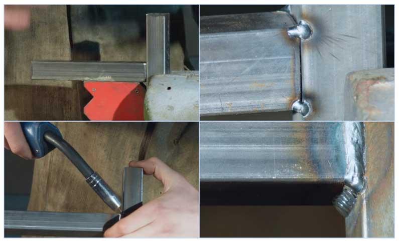 20-миллиметровые металлопрофильные трубы для навеса над воротами соединяют при помощи сварки