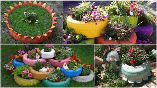 Оригинальные клумбы из шин для цветов